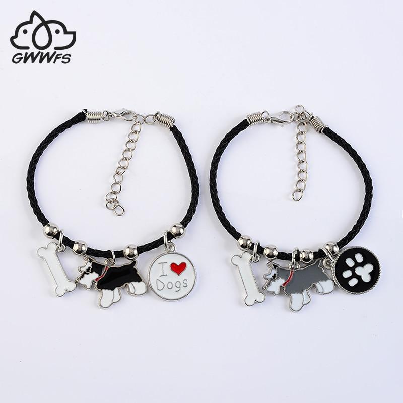Standar Schnauzer charm gelang untuk wanita gadis warna silver alloy dog pendant hitam rantai tali perempuan gelang bijoux femme