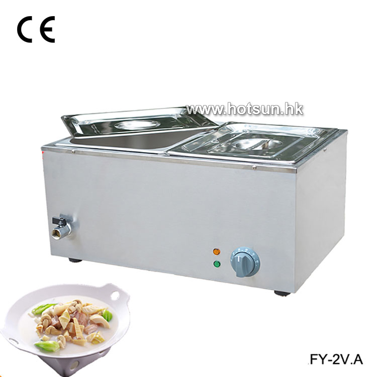 Commercial 220V 2-pan Electric Bain Marie Food Warmer with Tap
