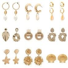 Bohemian Natural Shell Dangle Earrings 2019 Women Fashion Cowrie Conch Seashell Long Unique Drop Earrings Party Jewelry Gift innopes 2019 bohemian long unique women s earrings dangle earrings jewelry earrings