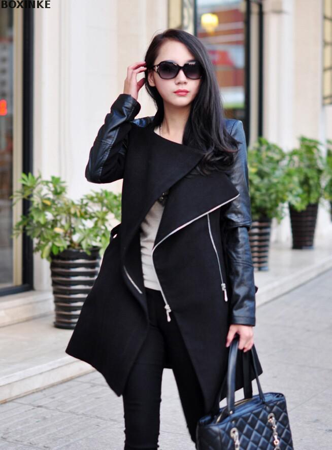 Ograniczone w czasie nowy na co dzień pełne płaszcze Abrigos Mujer europa i w zimie kurtka uliczna czar skórzane rękawy płaszcz zima na co dzień w Trencze od Odzież damska na AliExpress - 11.11_Double 11Singles' Day 1