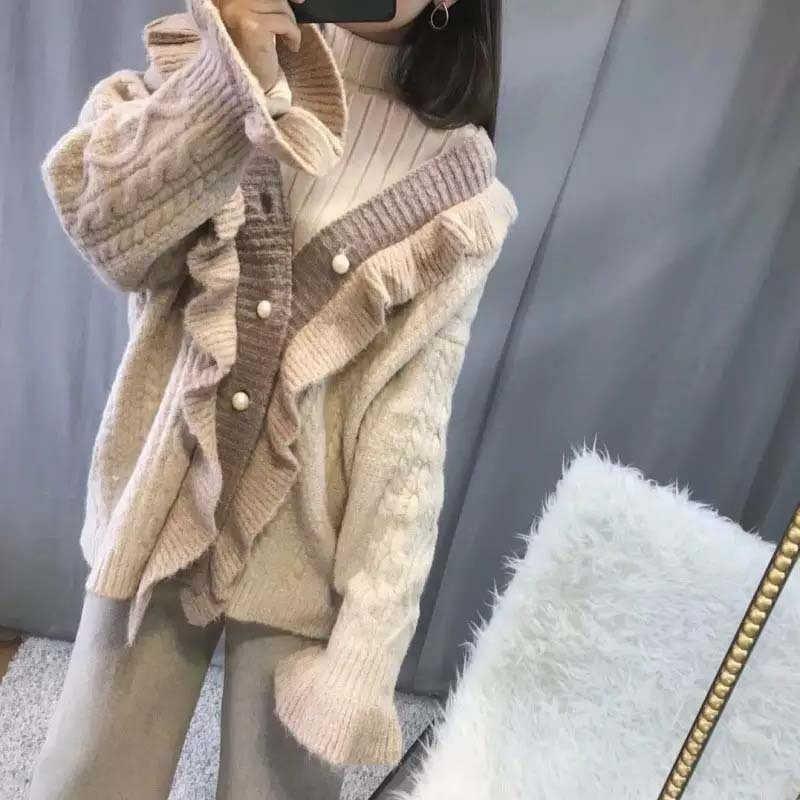 Новинка 2018 осень зима элегантный женский гофрированный рукав-клеш искусственный жемчуг Кнопка свитер жемчужная Кнопка ленивый стиль Вязаный женский кардиган