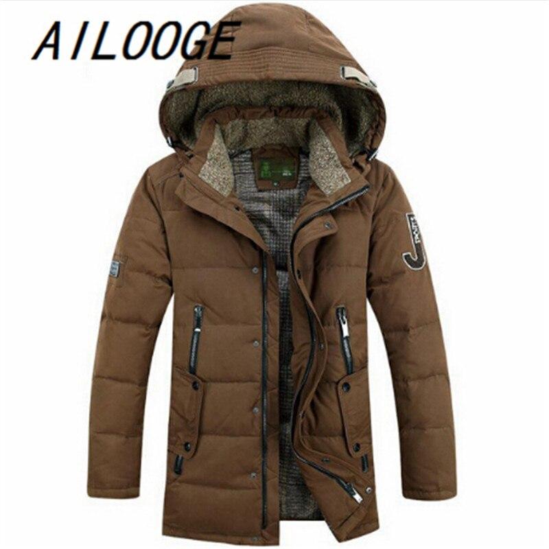 2016 New Fashion Men White Duck Down Jacket Parka Winter Warm Casual Coat With Hood Mens Long Down Coats Jackets