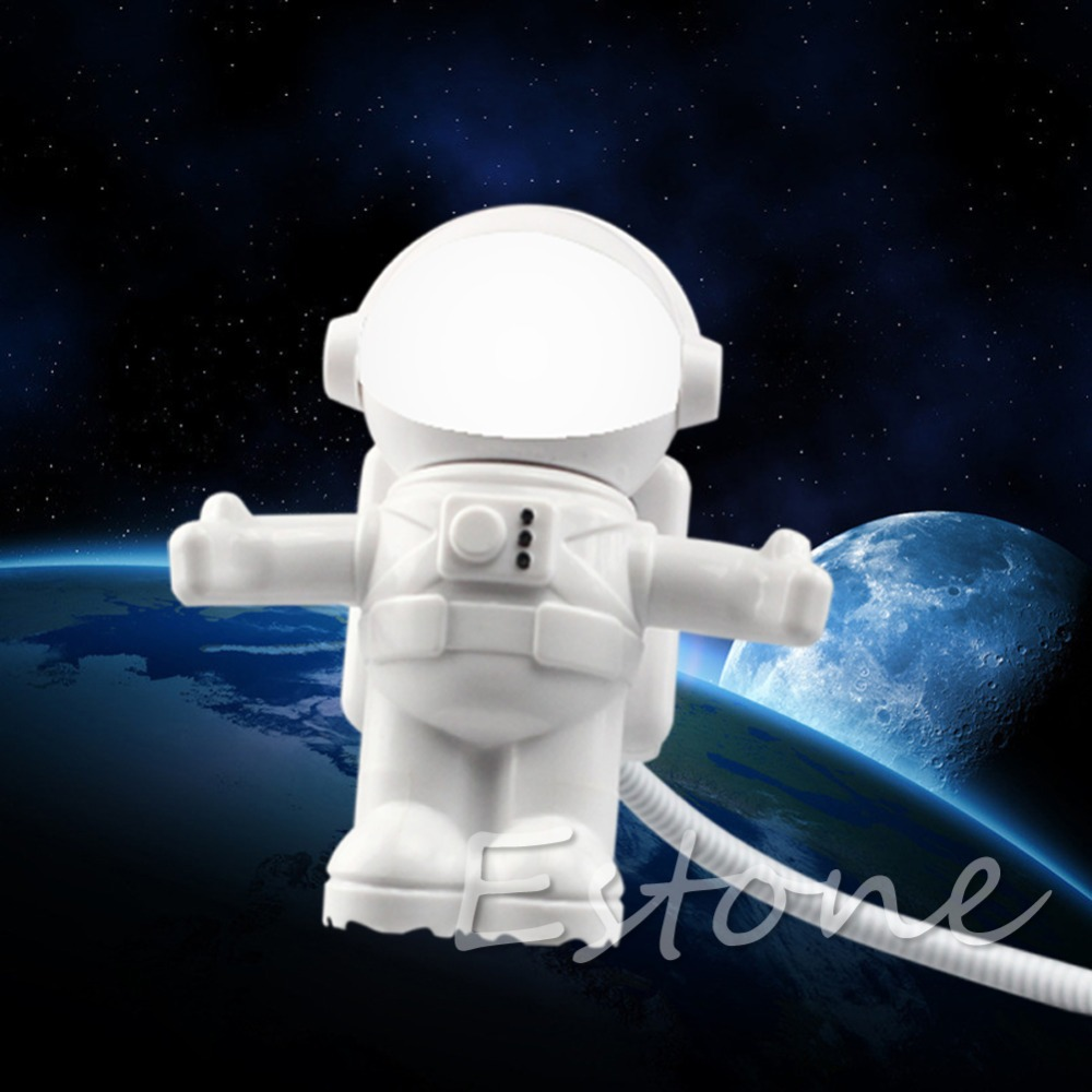 2015 Newest Astronaut USB Powered Mini LED White Night Light Lamp Bulb for Laptop PC Reading image