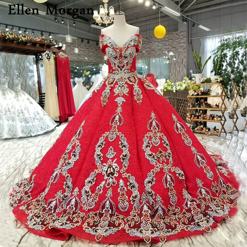 Elegant Red Lace Ball Gowns Wedding Dresses 2019 Vestido De Noiva