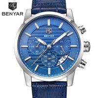 Montre Homme BENYAR Chronograph Men S Watch Luxury Brand Full Steel Quartz Black Watch Men Wrist