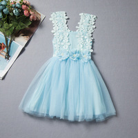 2017 New Lace Baby Girl Flower Dress Kids Clothes Baby Hollow Sling Full Gauze Girl Dress