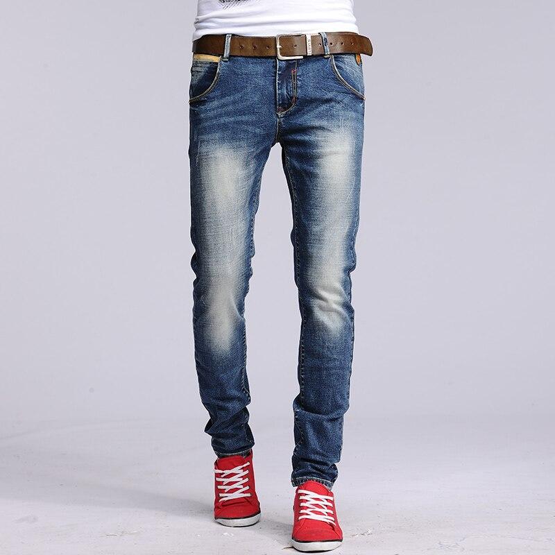 New Plus Size 28 36 Mid Waist Men Jeans Pencil Denim Slim Pants Classic Skinny Jeans
