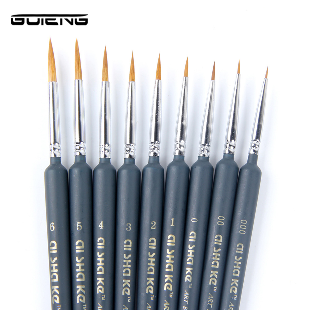 Hook Line Fine Professional Wolf Hair Paint Brush Miniature Art Brushes For Drawing Gouache Oil Painting Brush Art Supplies