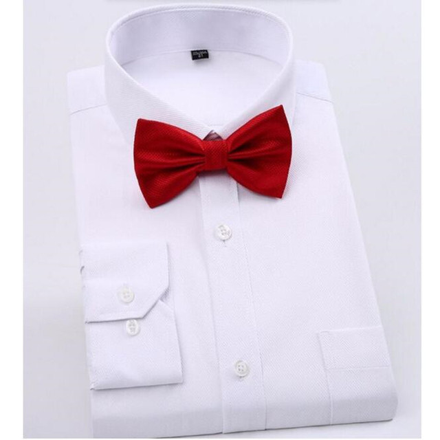 Men's pure color Long Sleeved Shirt Dress Shirt Male Business Casual Shirt Slim Fit high quality custom Shirts To send a bow tie