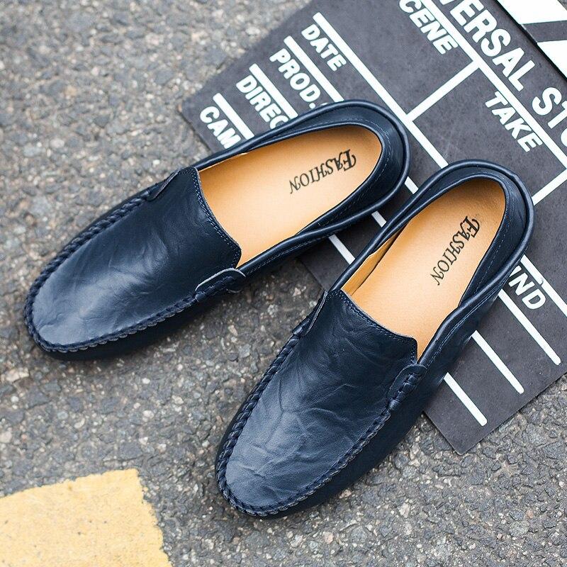 Noir Automne En Bleu Taille 44 Chaussures 38 Et Slip On Printemps Jaune yellow Brun blue Hommes Brown Casual Appartements De Mocassins Black Cuir k8wnOP0