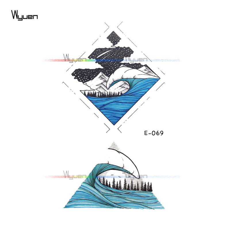 WYUEN Wave Moon Waterproof Temporary Tattoos Nature Fake Tattoo Stickers Tree Tatoos for Adult Men Woman on Arm Hand E-069