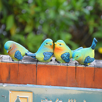Adeeing 4pcs Set Lovely Resin Mini Bird Figurines Statue Home Table Counter Decoration