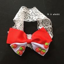 1 Pcs/lot Hairband Kawaii 3D Strawberry Headbands Fashion Girls Ribbon Bows Childrens Hair Accessories