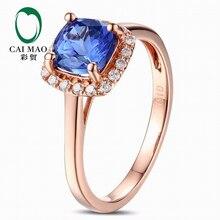 CaiMao 18KT/750 Rose Gold 1.12ct Natural VVS Purplish Blue AATanzanite 0.15ct Full Cut Diamond Engagement Gemstone Ring Jewelry