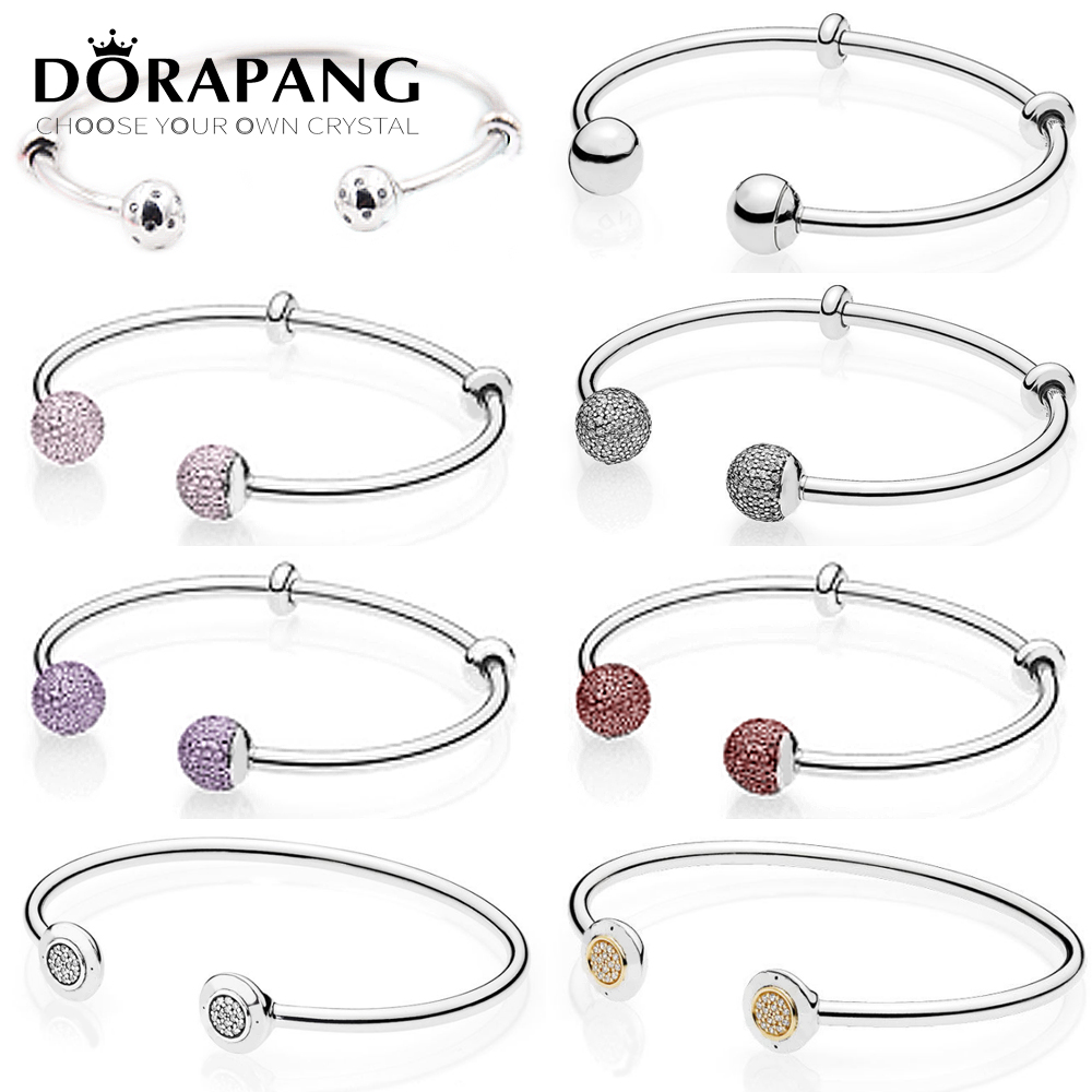 DORAPANG 925 Sterling Silver Double-headed classic crystal bracelet Clear CZ Charm Bead fit DIY Bracelets The factory wholesale 925 sterling silver cz by the yard anklet bracelet 10