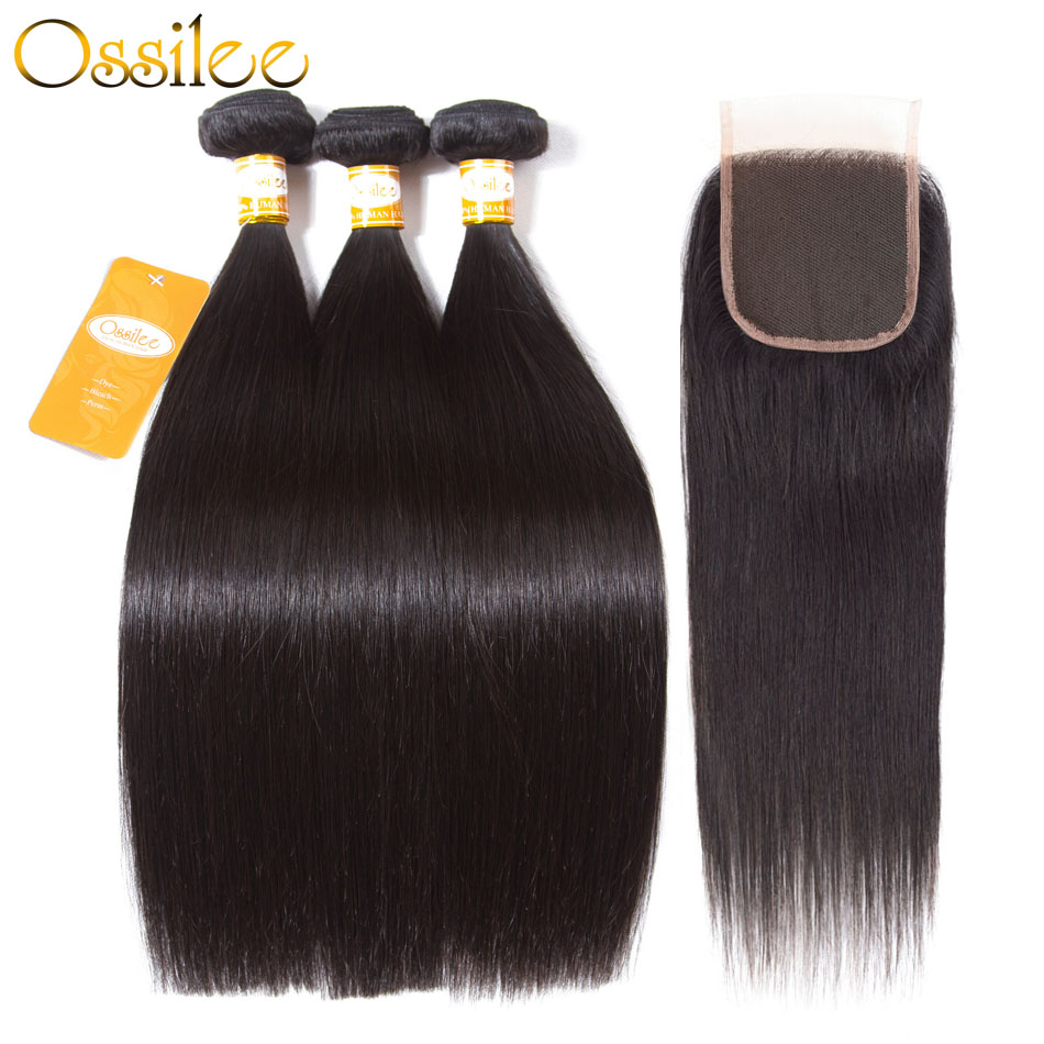 Ossilee Straight Hair Bundles with Closure 4pcs/lot Peruvian Hair Bundles with Closure Non Remy Human Hair Bundles with Closure