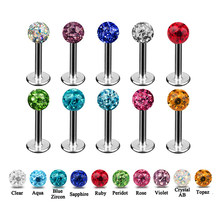 1 pc Bedah Baja colorful Ferido Bola Epoxy epoxy CZ permata bola labret lip Ring Ear Cartilage Stud piercing Perhiasan(China)