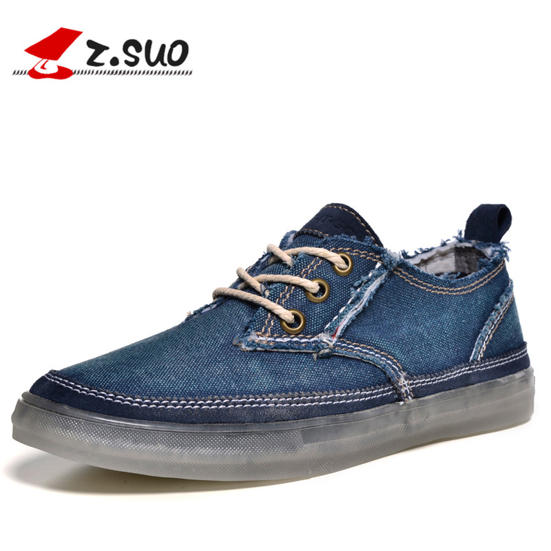 z.suo 2017 Blue Denim Canvas Shoes Men Spring Autumn Outdoor Mens Casual Shoes Hot Sale Leisure Man Flats Retro Zapatos Hombres west scarp mens casual shoes man flats spring autumn breathable fashion classic men canvas shoes brand outdoor zapatos hombre