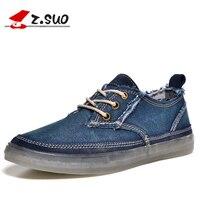 z.suo 2017 Blue Denim Canvas Shoes Men Spring Autumn Outdoor Mens Casual Shoes Hot Sale Leisure Man Flats Retro Zapatos Hombres