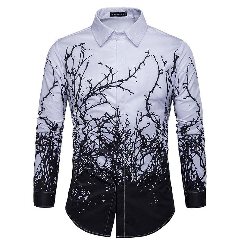 შემოდგომის ახალი მოდის კაცი ყვავილები გრძელი ყდის პერანგი 3D ბეჭდვა შავი თეთრი კოლგოტი Camisa Masculina მამაკაცის პერანგი მაღალი ხარისხის