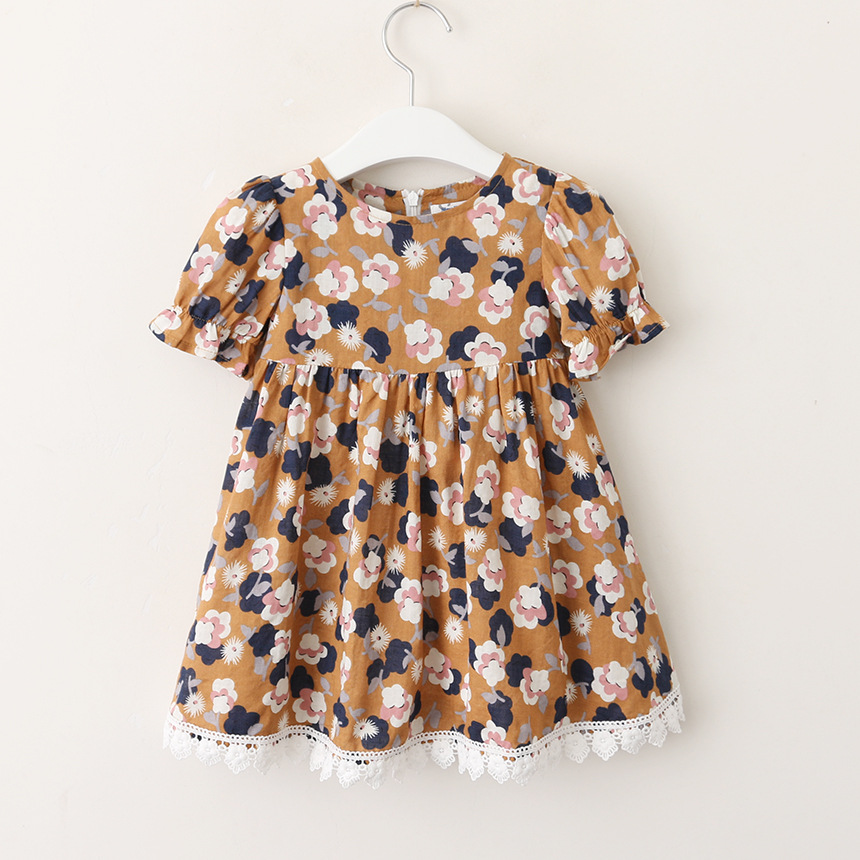 Hurave patchwork lace Baby Girls Clothes Children shorts Sleeve dress causal print infant A-line Princess cotton dresses
