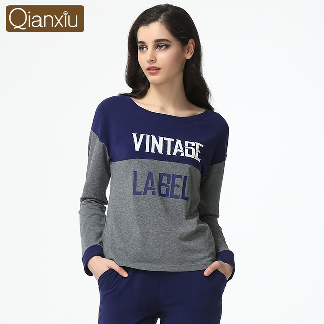 2019 Spring Brand Homewear Couples Casual patchwork Pajama sets Women Mo  Cotton Sleepwear suit Ladies long sleeve t shirt +pants 516d9daa1