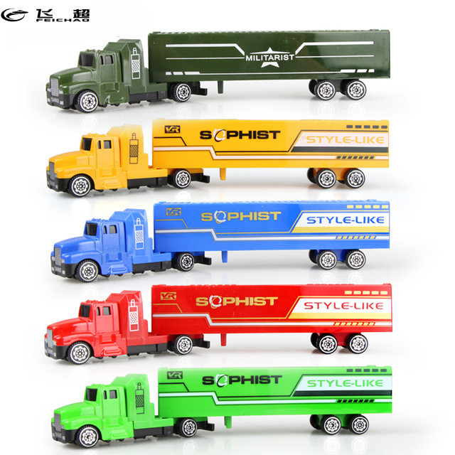 Feichao 5 Color Diecast Alloy & Plastic Truck Toy Model Car Container Green Truck Children's Educational Toys for Chirstmas Gift