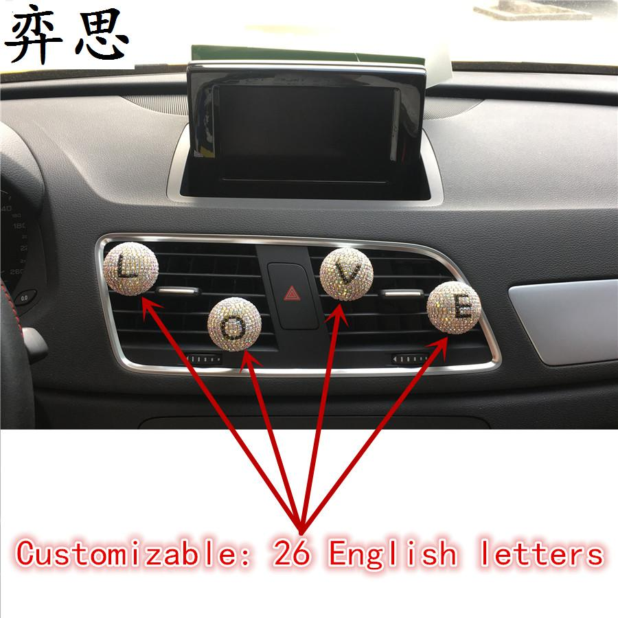 Car perfume that can be customized in english letters beautiful white diamond car air freshener lady