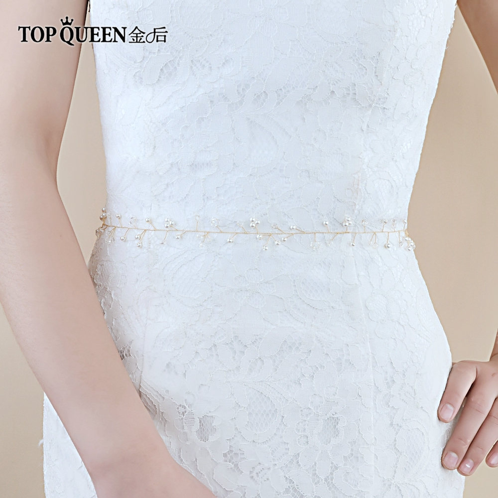 TOPQUEEN SH97 Bridal Belts With Crystal Golden Belt Wedding Sash Belt For The Bride Wedding Accessories Thin Belt