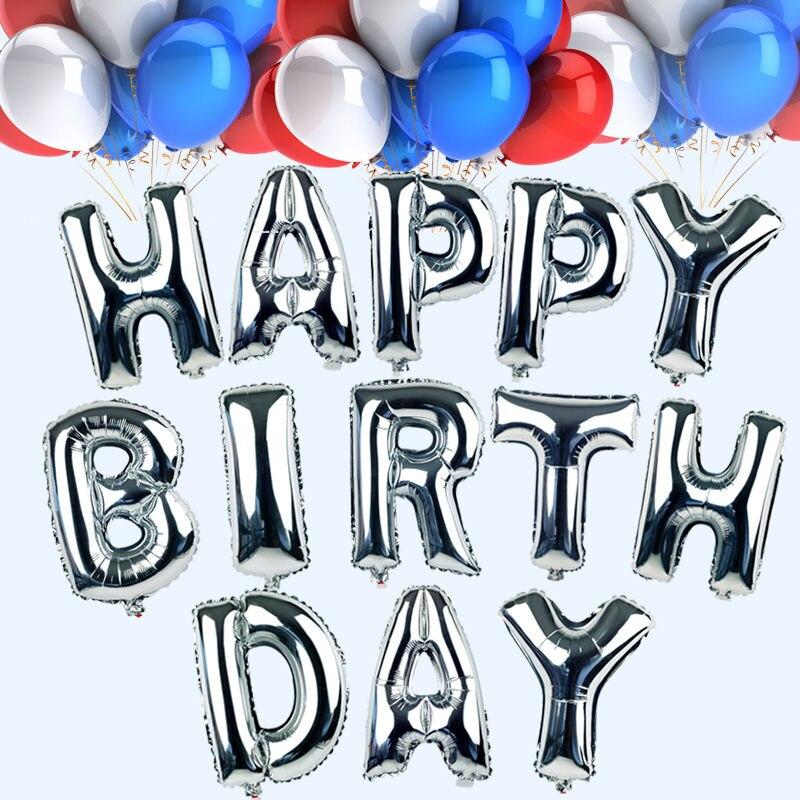 26pcs/lot 16 inch letter happy birthday balloon aluminum foil balloon birthday party decoration alphabet helium balloon