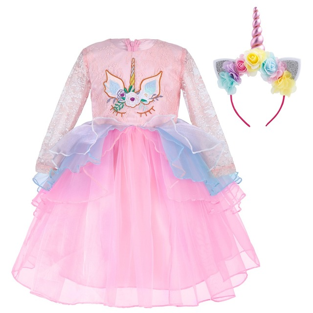 Children Unicorn Dress Headband Outfit