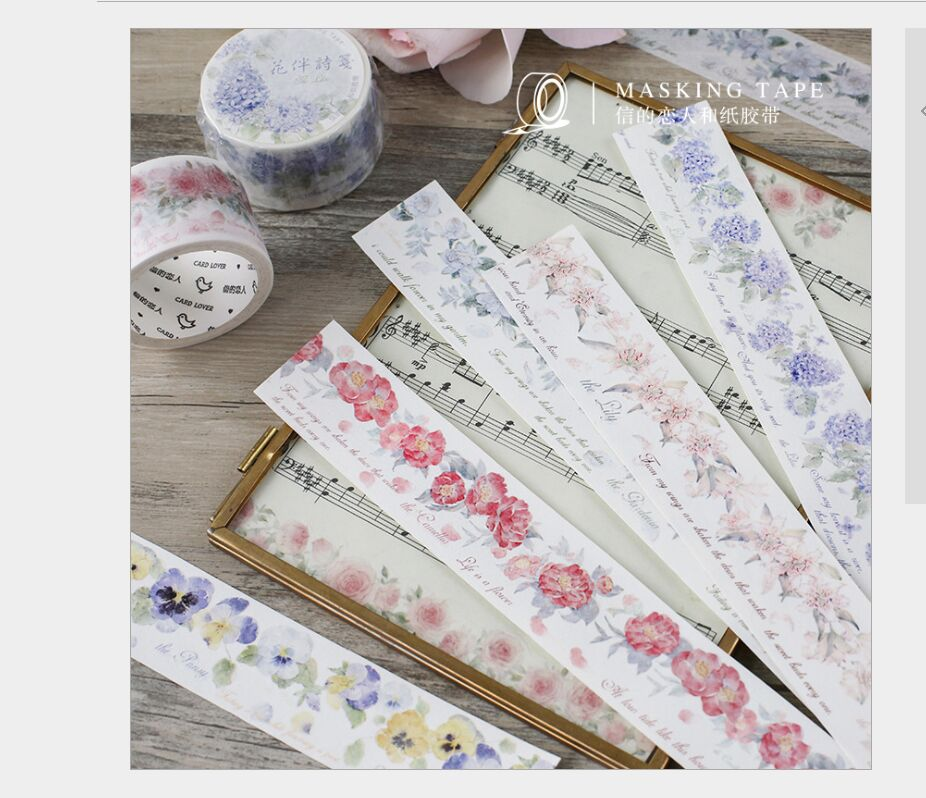 30mm Wide Retro Poetic Floral Flowers Branch Rose Lily Camellia Pansy Lilac Flowers Washi Tape DIY Planner Diary Masking Tape