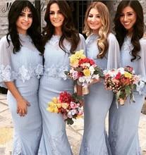 Bruidsmeisjes Jurk Mermaid Lace Bridesmaid Dresses With Cape Long Wedding Party Dresses For Bridesmaid Gowns Vestido Longo Verao