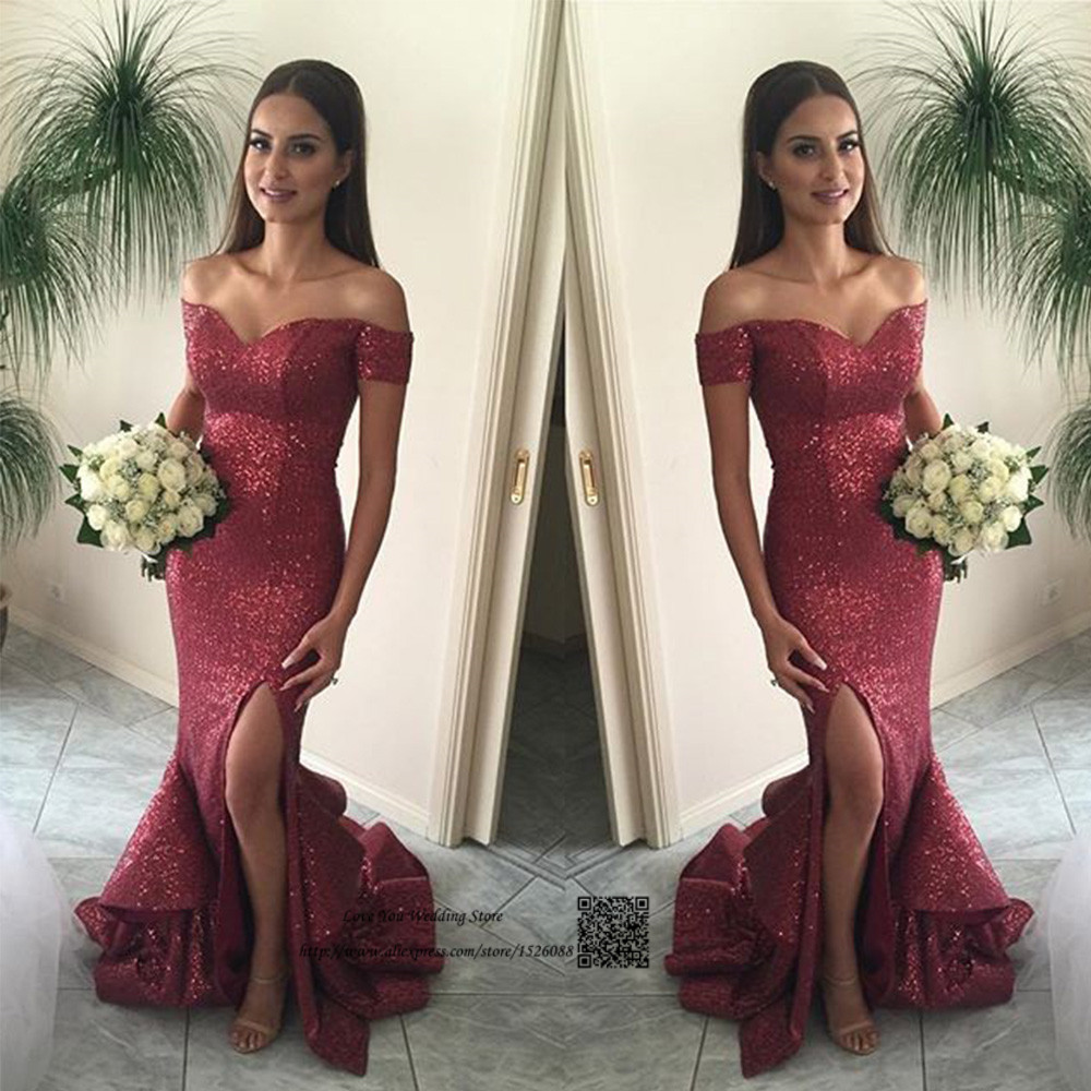 Tireless Robe De Soiree Sparky Sequin Evening Dresses Long Off Shoulder Mermaid Prom Dress Cheap Split Side Special Occasion Gowns 2017