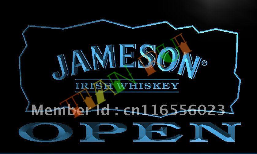 LA083 Jameson Irish Whiskey OPEN Bar LED Neon Light Sign