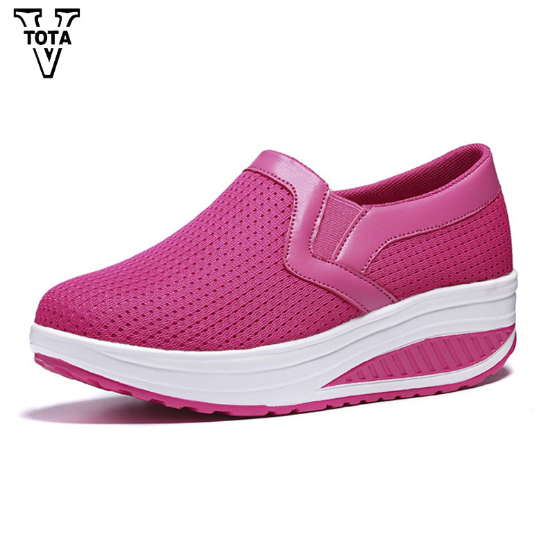 VTOTA Swing Wedges Women Shoes Walking Spring Summer Platform Casual shoes Loafers Wedges Slip On Ladies Creepers Shoes JXXY minika women casual canvas shoes air cushion soles slip on swing fitness shoes platform wedges walking height increasing shoes