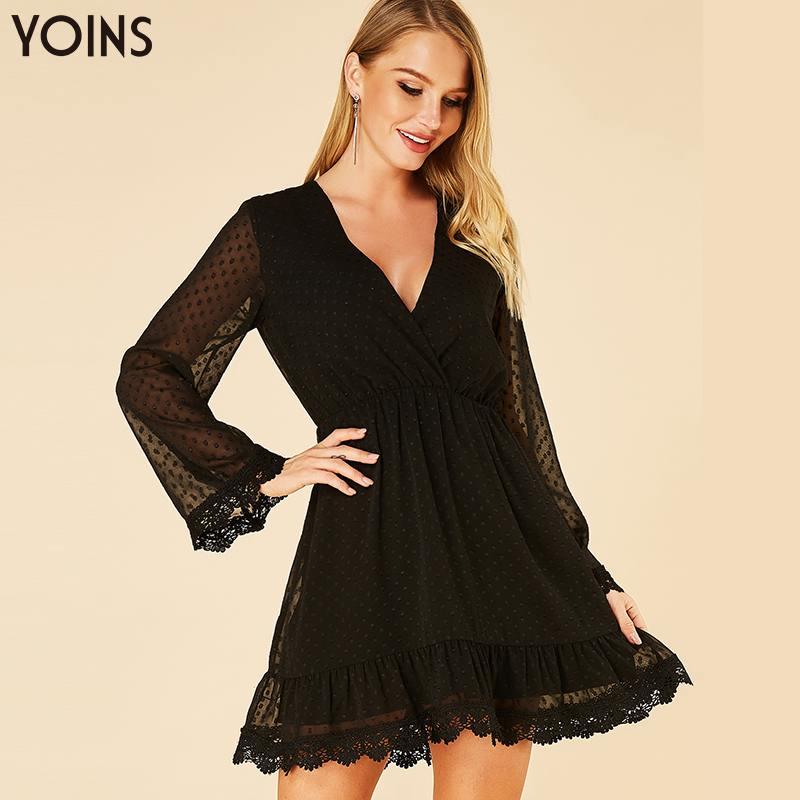 YOINS 2019 New Summer Autumn Women Dress Sexy Black Lace Deep V Neck Long Sleeve Mini Dress Mesh Vestidos Party Vintage Tunic
