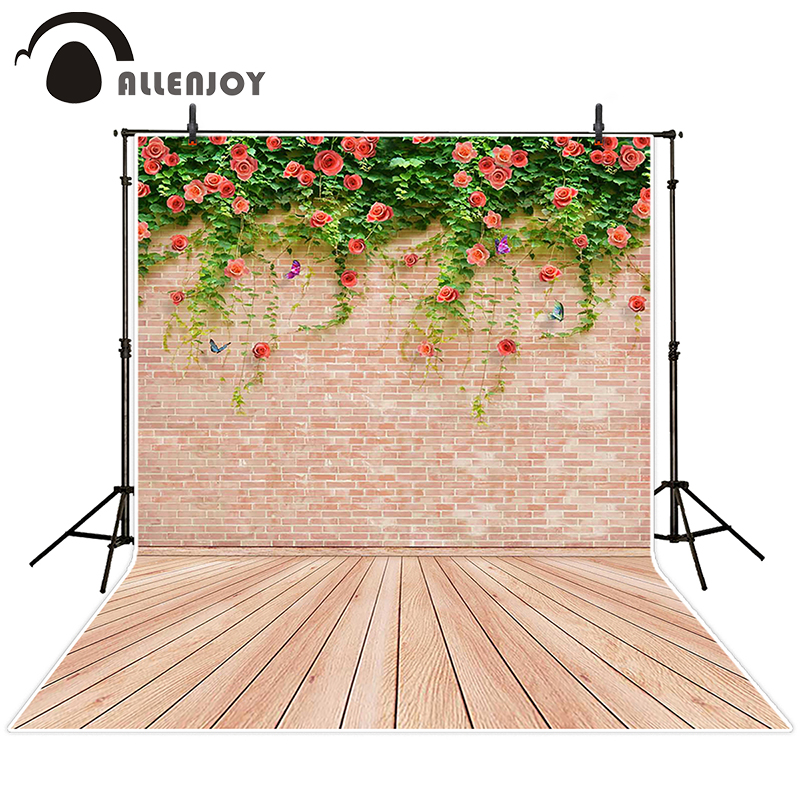 Allenjoy photographic background Butterfly brick wall backdrops princess christmas studio photocall 5x7ft allenjoy christmas photography backdrops christmas background gifts white brick wall wooden floor bulbs table for baby for kids