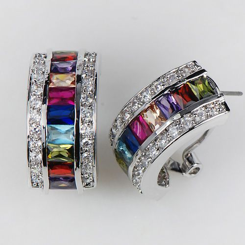 Simulated Morganite Blue Crystal Zircon Garnet Pink Kunzite 925 Sterling Silver Earrings KE07 morganite garnet purple green crystal zircon multi color follower 925 sterling silver ring size 6 12