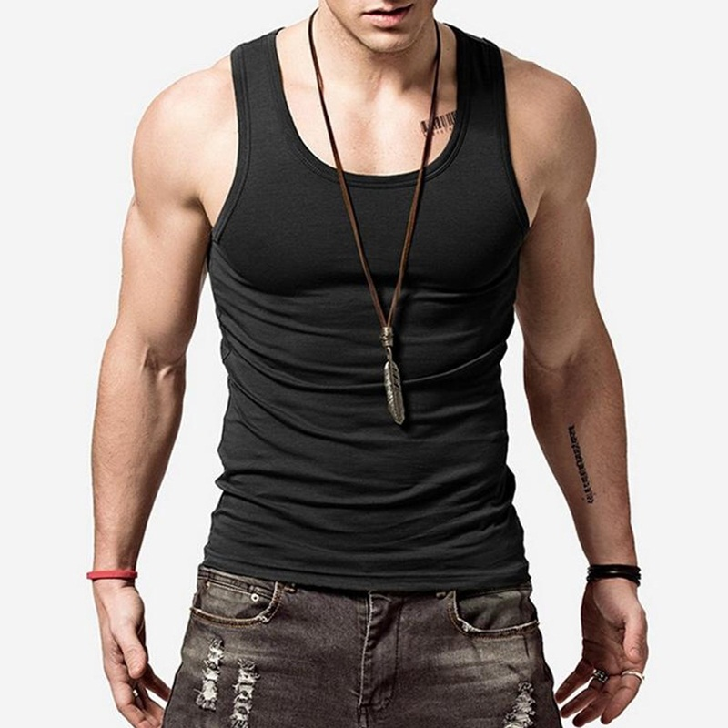 Tank Tops Modest The New Brand Clothing Mens O Neck Sleeveless Bodybuilding Tank Tops Slim Fits Tee Tops Male U Tank Top Vest White Black 2019 At Any Cost Men's Clothing