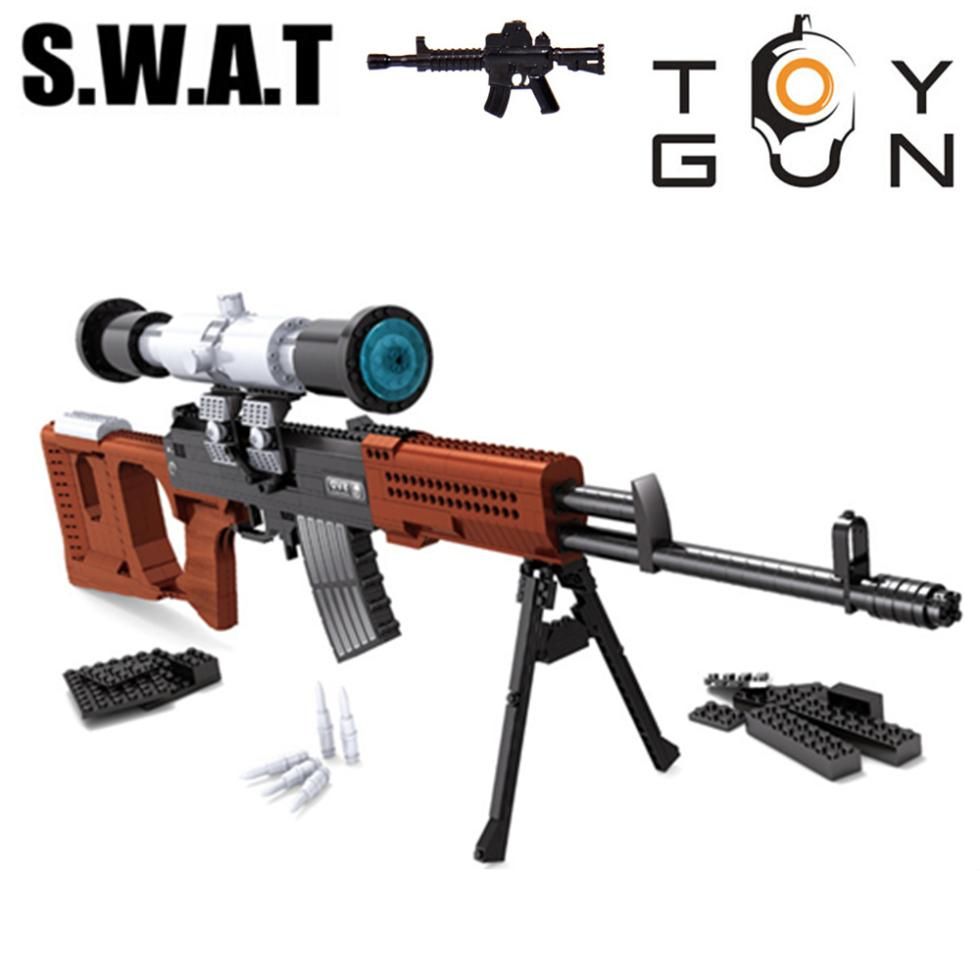 AUSINI 712pcs SWAT SVD Sniper Sniper Assault Rifle GUN Weapon Arms Model 1:1 3D DIY Building Blocks Bricks Children Gifts Toy 6pcs gun model military assemble weapon sniper assault rifle cs ak47 svd m4a1 acr swat building blocks bricks toys boys children