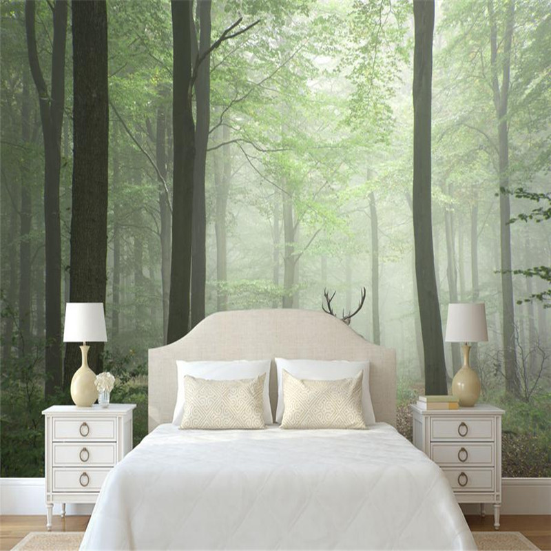 custom modern 3d wallpaper stereo effect simple nordic vintage background wall mural fog elk forest wallpaper for living room fog forest printed wall hanging tapestry