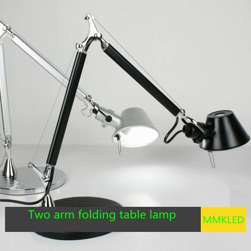Two arm folding table lamp aluminum work light study office E14, AC110-240V, lengths up to 78cm