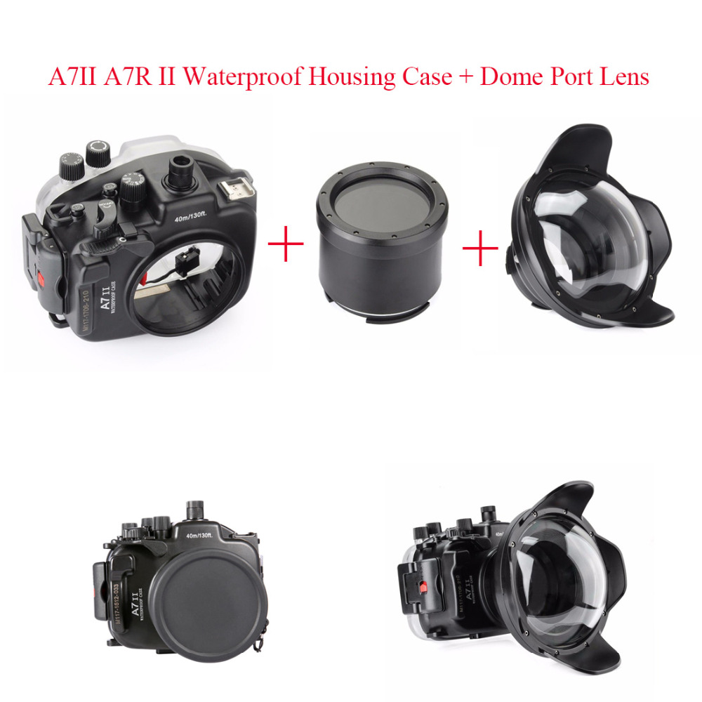 Meikon Waterproof Housing Case 40M 130ft For Sony A7 A7R A7 III A7R III A9 A7S II A7II A7R II Camera + WA-5 Wire Angle Dome Port [vr] brand handmade genuine leather camera case for sony a7ii a7 mark 2 a7r2 a7r ii camera bag half cover handle vintage case