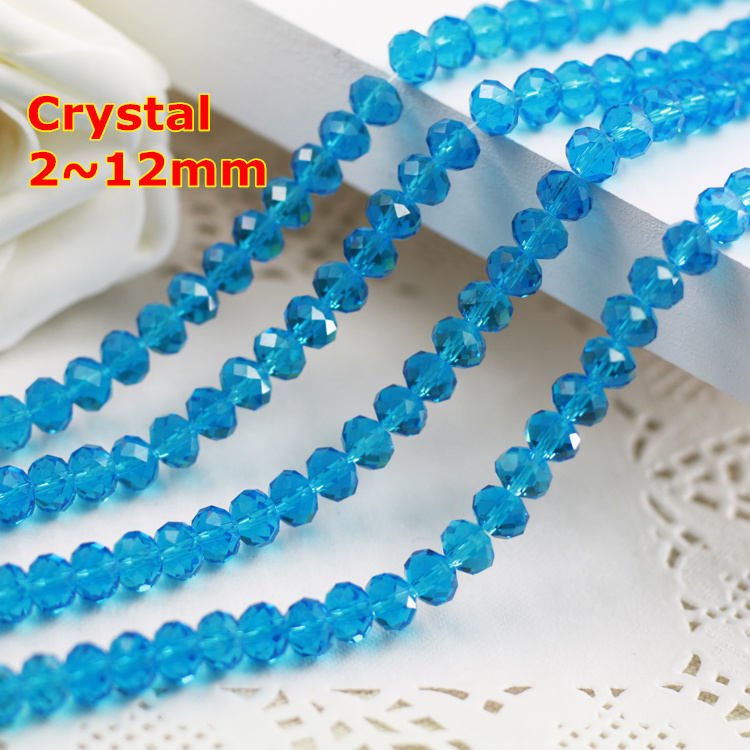Aquamarine color 2mm,3mm,4mm,6mm,8mm 10mm,12mm 5040# AAA Top Quality loose Crystal Rondelle Glass beads