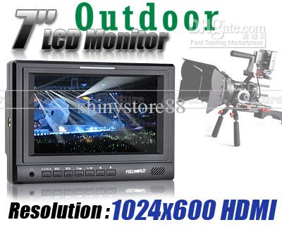 HD 1024x600 FEELWORLD 7 inch LCD TFT Camera Monitor Video HDMI PIP Hot Shoe Mount Tally Kit POM10