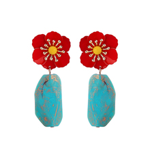 Uer 2019 New Design Red Flowers Blue Resin Stone Dangle Earrings Women Multi Style Jewelry Wholesale