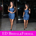 Kim Kardashian Short Dress Navy Blue Short Celebrity Inspired Cocktail Party Gown