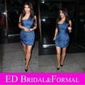 Kim Kardashian Short Dress Navy Blue Short Celebrity Inspired Cocktail Party Gown