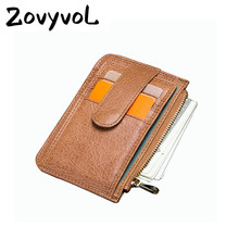 BISI GORO Case Genuine Leather Small Men Wallet Casual Credit Card Holder Thin Black Package Money Bag Coin Purs